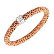 Stainless Steel Rose Gold-Tone White CZ Stretch Bracelet