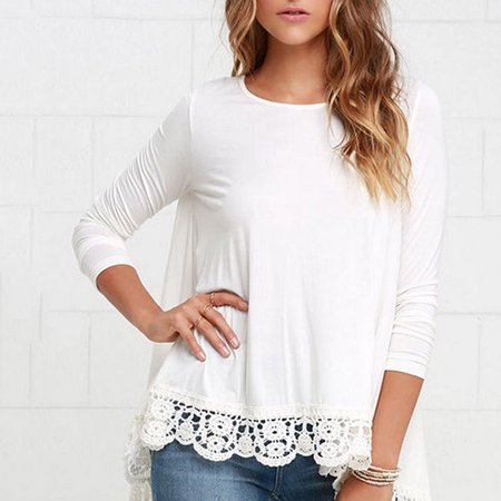 54115513f19b unbranded - Women s Lace Long Sleeve White Shirt Casual Blouse Loose Cotton  Tops T-Shirt - Walmart.com