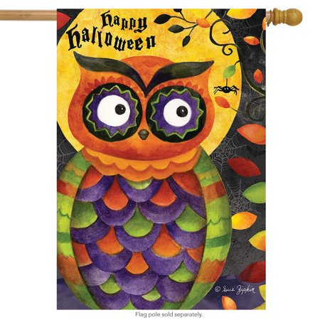 Spooky Owl Halloween House Flag Primitive Holiday 28