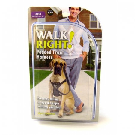 Walk Right Front Connected Dog Harness, Large, Black