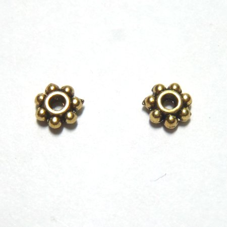 250 PCS - 5MM Daisy Spacer Bead Finding Gold C0693