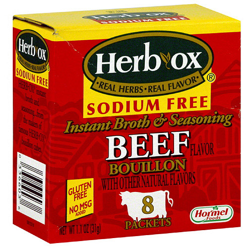 Herb-Ox Sodium Free Instant Beef Broth, 1.1 oz, (Pack of 12)
