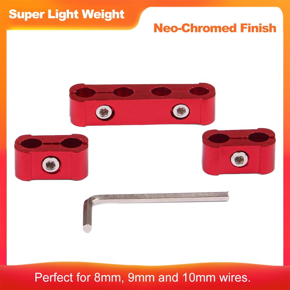 DEDC 6 Pack Aluminum Engine Spark Plug Wire Separator Divider Clamp Kit for 8mm 9mm 10mm Black
