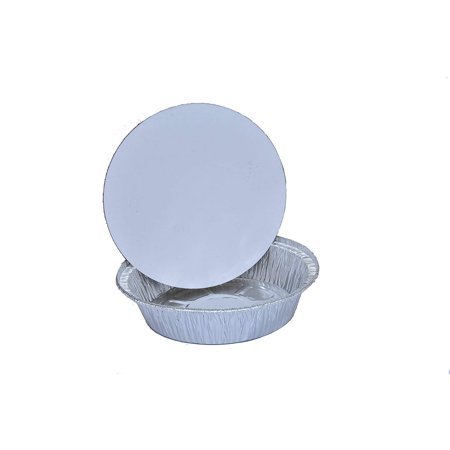 TakeOut To-Go Round Restaurant Disposable Aluminum Foil Pan sets with Flat Board Lids, 25 Count, 7 1/8'x 7 1/8' x 1 1/2' deep