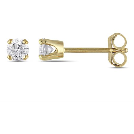 Miabella 1 4 Carat T W Diamond Solitaire 10kt Yellow Gold Stud Earrings