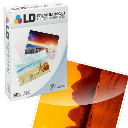 LD Glossy Photo Sticker Paper: 100 Sheets - 8.5x11
