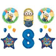 8th DESPICABLE ME MINIONS Happy Birthday PARTY Balloons Decorations Supplies