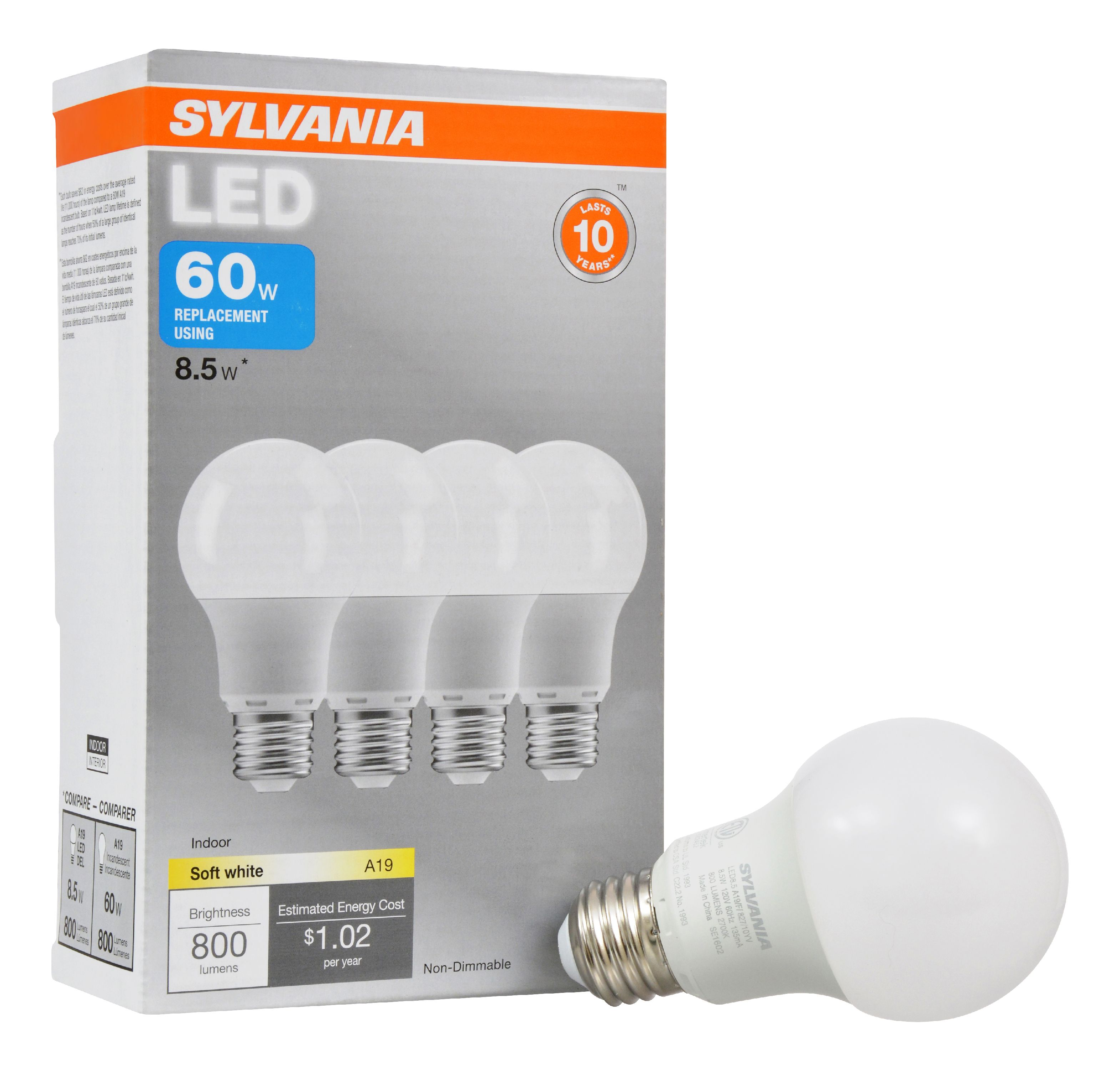Sylvania LED Light Bulbs, 8.5W (60W Equivalent) Soft White, 4-count