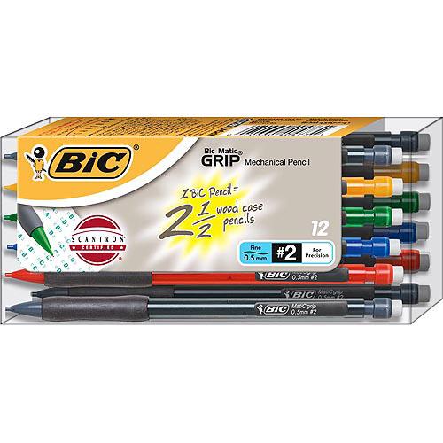 BIC Matic Grip Mechanical Pencil, 0.5mm, 1-Dozen