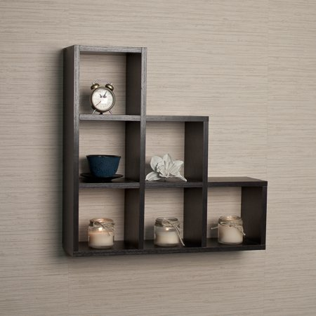Danya B Stepped Six Cubby Decorative Black Wall Shelf