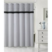 Luxury Home Madeline Faux silk Shower Curtain, Black & Grey - 72 x 72 inch
