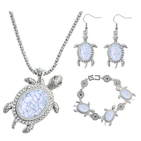 Bohemian Style Necklace Earring Bracelet Marble Blue with Antique Silver Anti-Tarnish Turtle Tortoise Sets, J-135-A ()