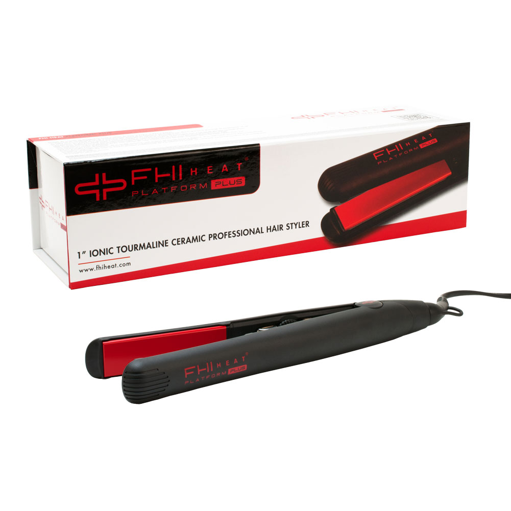 "FHI Heat Platform Plus 1"" Ionic Tourmaline Ceramic Hair Styler Flat Iron, BLACK, FIRN7004-BLK"