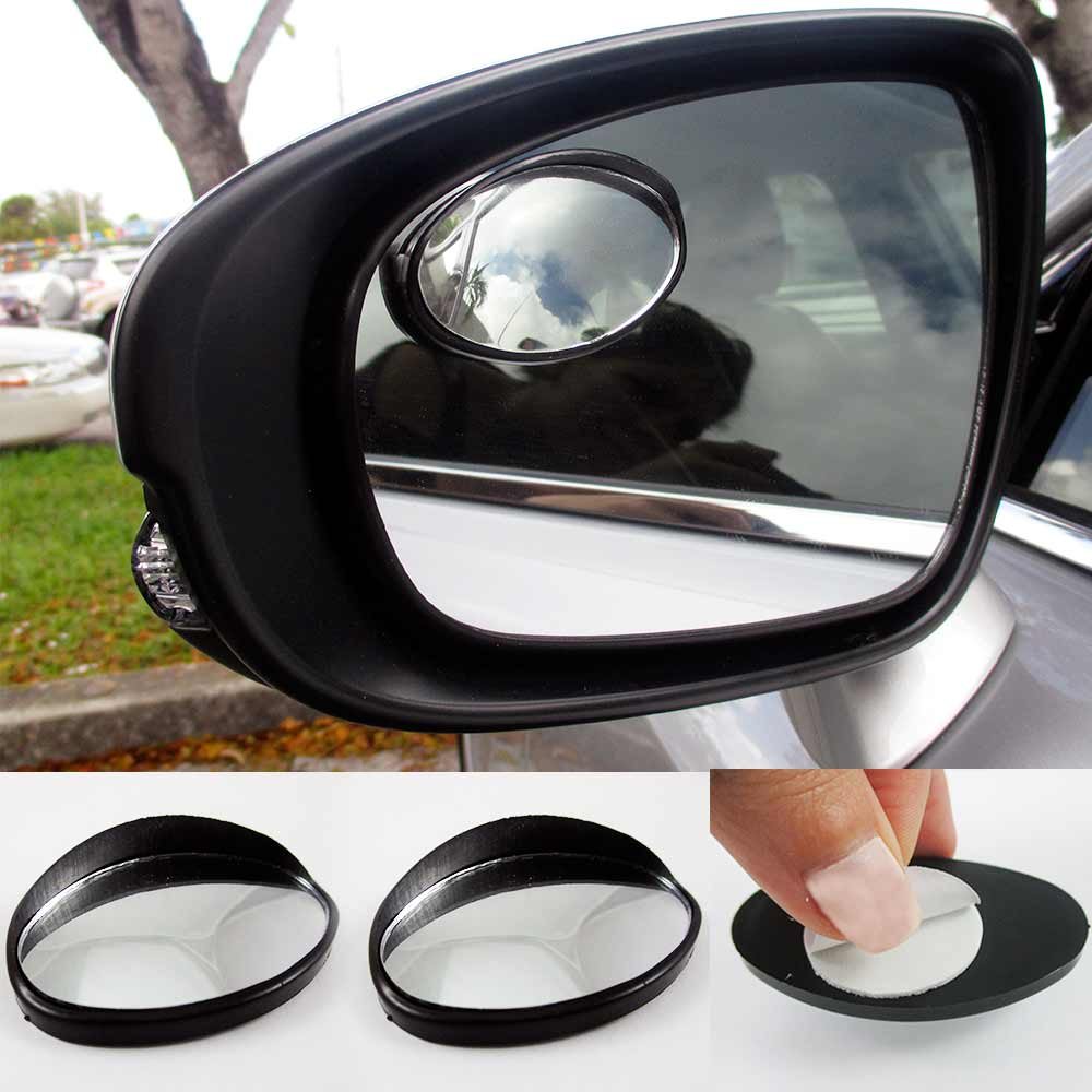 2 Car Vehicle Driver Wide Oval Angle Convex Mirror Blind Spot Auto Rear View !