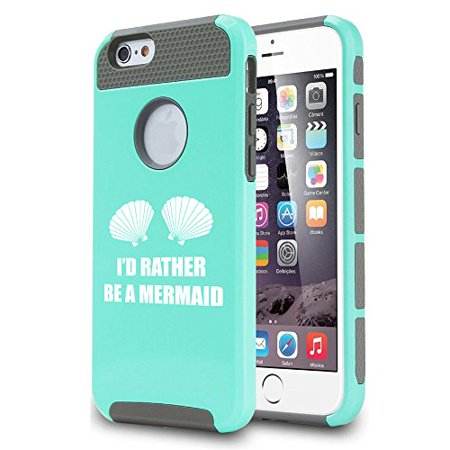 For Apple iPhone 7 Shockproof Impact Hard Soft Case Cover I'd Rather Be A Mermaid (Teal)