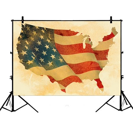 PHFZK 7x5ft Vintage Grunge USA Map Backdrops, American Flag Photography Backdrops Polyester Photo Background Studio Props - Mlp Background