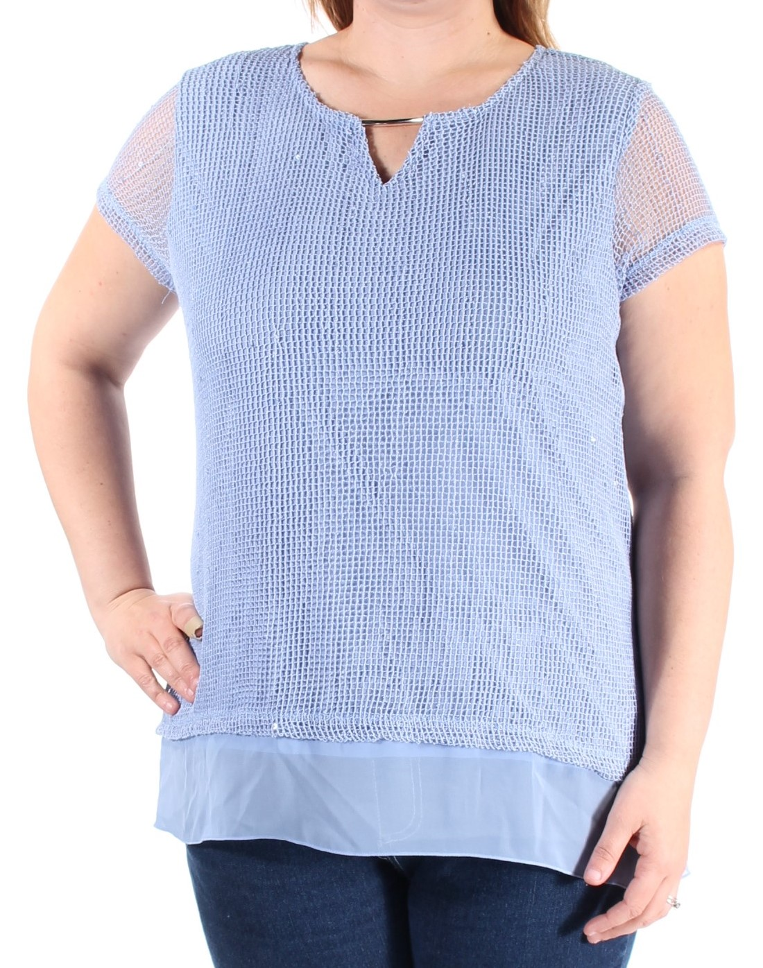 JM COLLECTION Womens Blue Sequined Mesh Cap Sleeve Keyhole Top  Size: L
