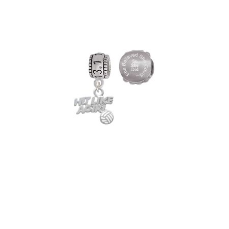 Hit Like a Girl with Enamel Volleyball 13.1 Half Marathon Run She Believed She Could Charm Beads (Set of 2)