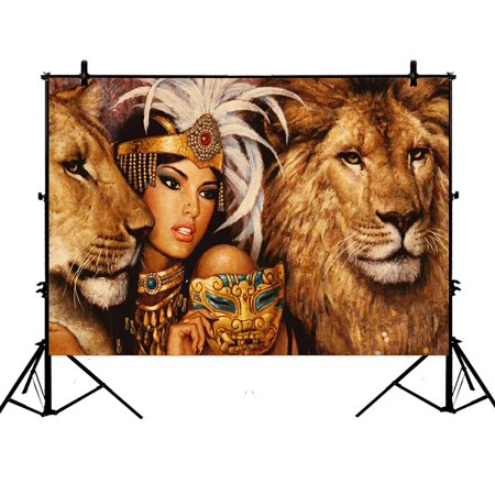 GCKG 7x5ft African Beautiful Woman With Lions Polyester Photography Backdrop Studio Photo Props Background - Detroit Lions Background