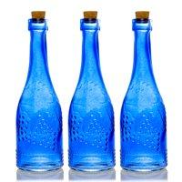 BULK PACK (3) Stella Blue Vintage Glass Bottle Wedding Flower Vase