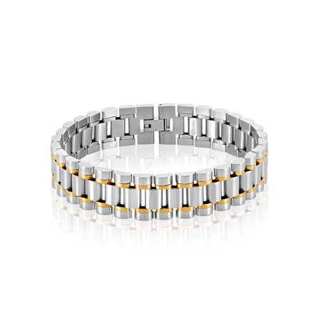 Two Tone Stainless Steel President Bracelet (16mm) - 9.5