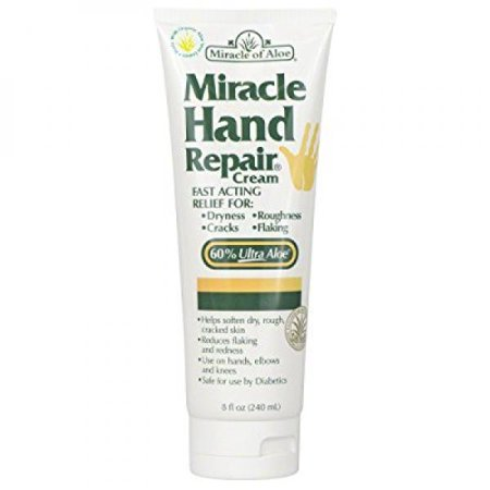 Miracle Hand Repair Cream 8 Oz Lotion Relieves Dry, Cracked, Flaking Helping Hands Reduce Redness For Hands Elbows Knees Best Therapeutic Purest Whole Leaf Natural Aloe Vera