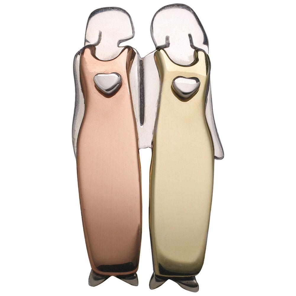"Women's Two Women Pin - Goldtone And Silvertone - 1 1/4"" High"
