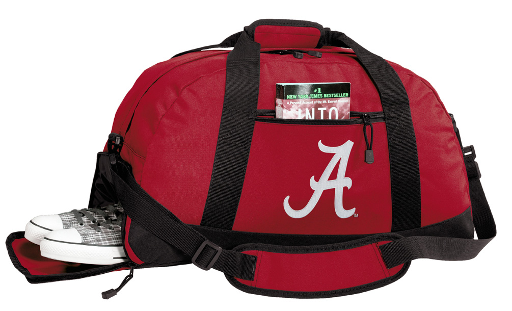 University of Alabama Gym Bags Alabama Duffle Bag WITH SHOE POCKET! by