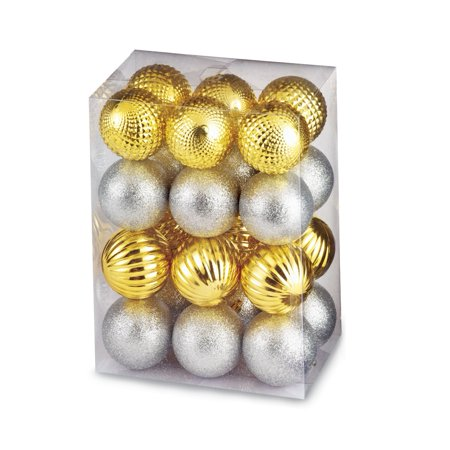 - Shatterproof Gold And Silver Christmas Ornaments Set, 24 Pc