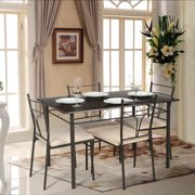 ikayaa 5pcs modern metal frame dining kitchen table chairs set for 4 person kitchen furniture 120kg - Table And Chair Sets Kitchen