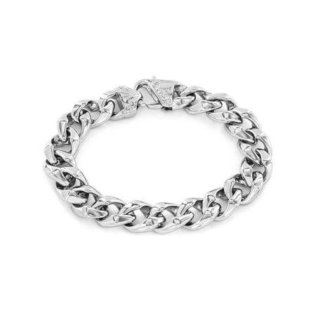 Classic Stainless Steel Curb Link Fleur de Lis Clasp Bracelet