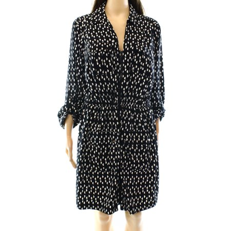 Alfani NEW Black Women's Size 14 Roll Tab Printed Full-Zip Shirt Dress