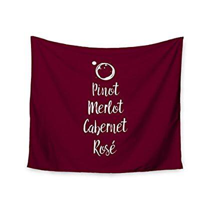 Merlot Rose (KESS InHouse Original 'Pinot Merlot, Cabernet, Rose' White Red Wall Tapestry, 68' x)