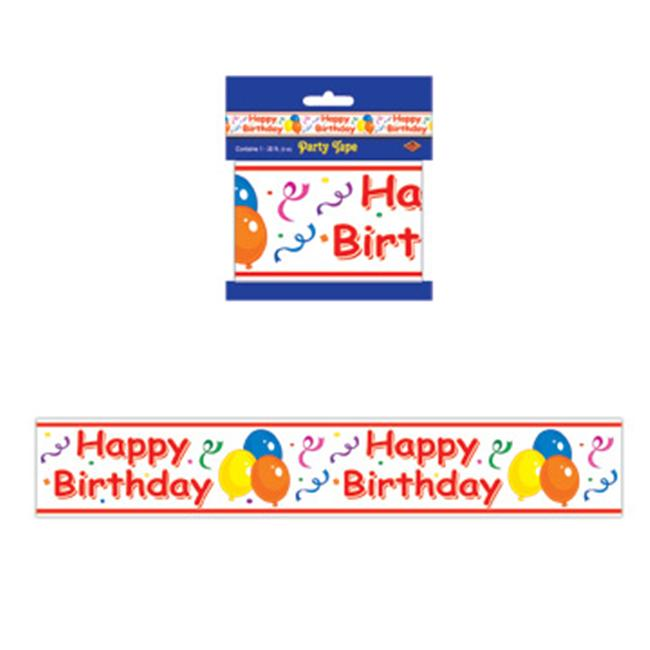 Beistle - 66149 - Happy Birthday Party Tape- Pack of 12