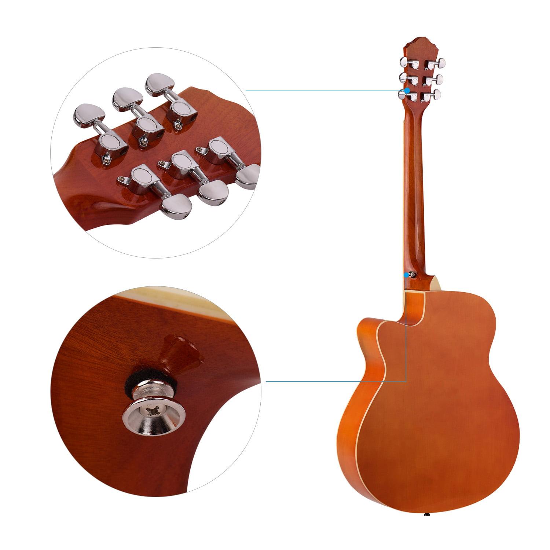 40inch Cutaway Acoustic Folk Guitar 6 Strings Basswood with Strap Gig Bag Capo Picks-Blue
