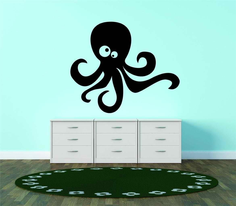 New Wall Ideas Silhouette Octopus Sea Creature Cross Eyed Kids Boy Girl Teen Dorm Room 30x30 Walmart Com Walmart Com