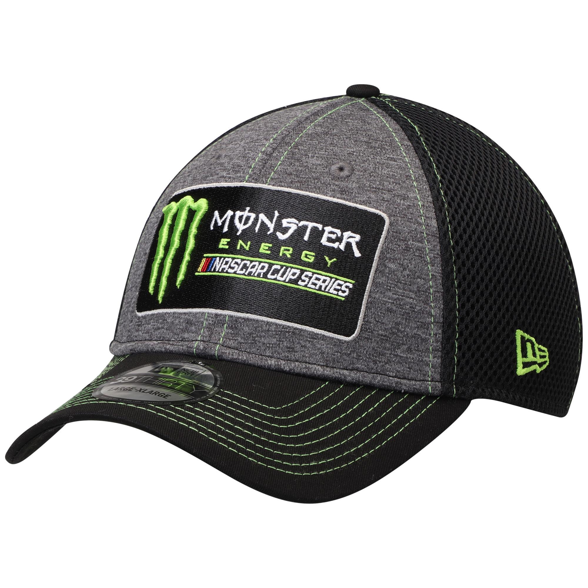 NASCAR New Era Monster Energy Black Neo Sponsor 39THIRTY Flex Hat - Graphite/Black