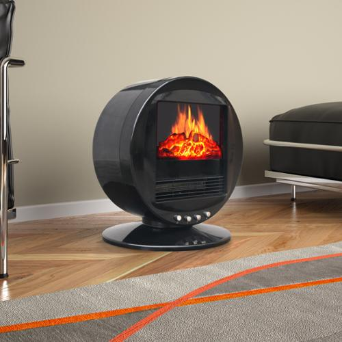 CorLiving Desktop Fireplace and Space Heater Black with Silver ...