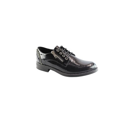 Liyu Adult Black Croc Pattern Zipper Accent Lace-Up Oxford Shoes