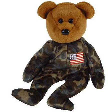 TY Beanie Baby - HERO the USO Military Bear (w/ US Reversed Flag on Arm)  (8 5 inch)
