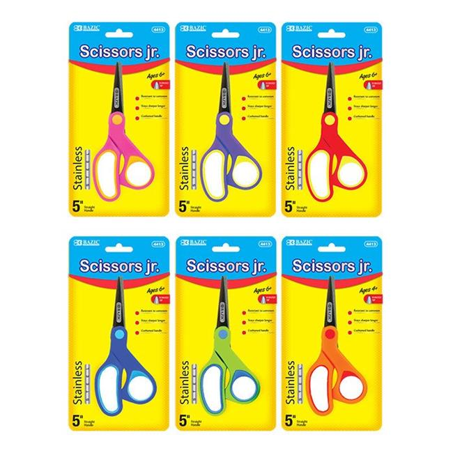 """Bazic  4413  5"""" Soft Grip Pointed Tip Stainless Steel Scissors  Pack of 24"""