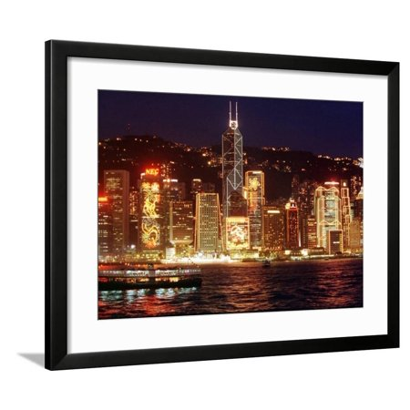 The Buildings are Lit up for the Handover Celebrations, Hong Kong 26, June 1997 Framed Print Wall Art