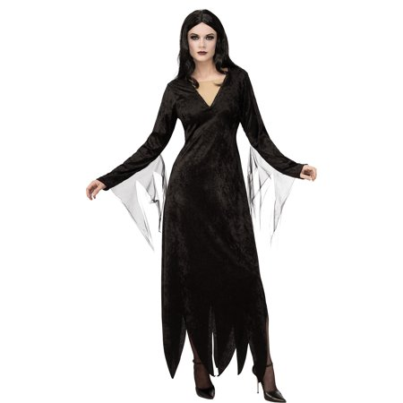 Costume For Family Of 3 (Rubie's Costume Co Addams Family Morticia Addams Costume for Adults, Features Velvety Dress with a Long)