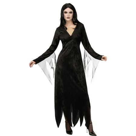 Family Of 3 Halloween Costumes 2019 (Rubie's Costume Co Addams Family Morticia Addams Costume for Adults, Features Velvety Dress with a Long)