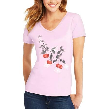 - Women's Short-Sleeve V-Neck Graphic T-Shirt