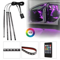 9 Color Car LED Strip Lights, EEEkit 4Pcs 72 LED Car Interior Lights, 5050 SMD, Waterproof, Underbody Atmosphere Neon Lights Kit Strip with Sound Active and Wireless Remote Control (Colorful)