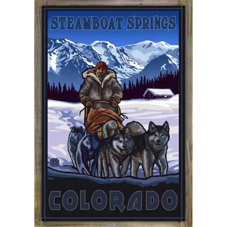 """Steamboat Springs Colorado Dogsled Team Metal Print on Reclaimed Barn Wood by Paul A. Lanquist (24"""" x 36"""")"""