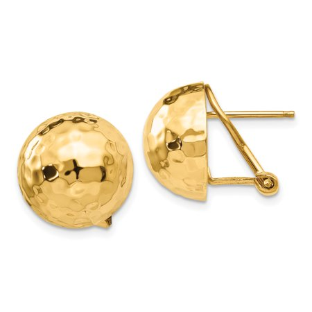 Gold Omega Post Earrings - 14kt Yellow Gold Hammered Omega Back Post Stud Ball Button Earrings Fine Jewelry For Women Gift Set
