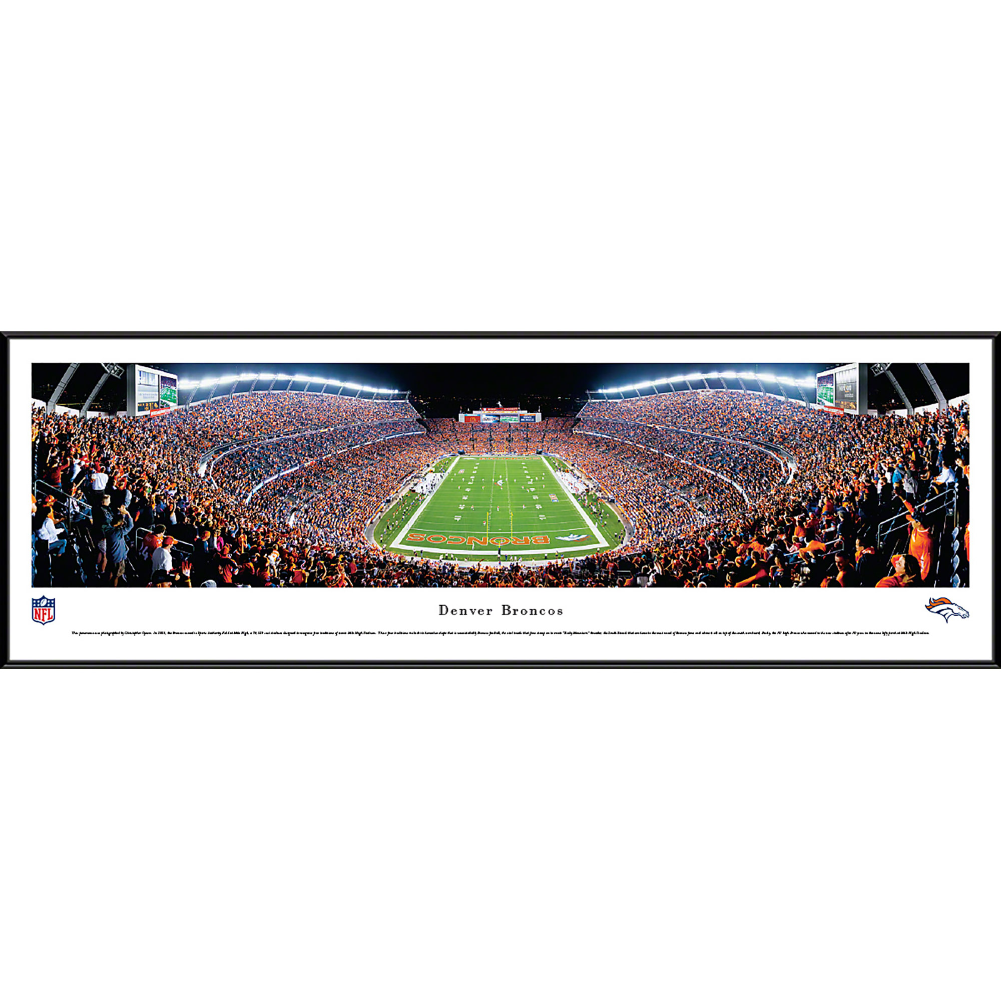 Denver Broncos - End Zone at Sports Authority Field at Mile High - Blakeway Panoramas NFL Print with Standard Frame