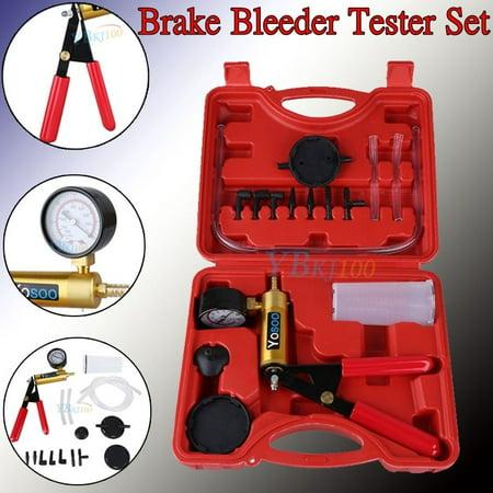 Hand Held Vacuum Pressure Pump Tester Tool Brake Fluid Bleeder Bleeding Kit -